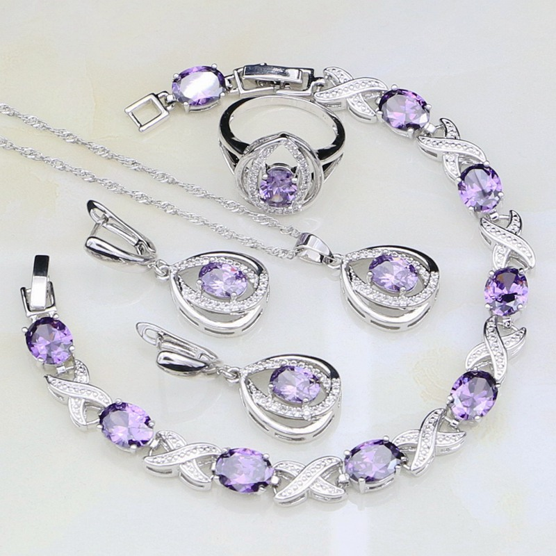 Purple Stones White Cubic Zirconia 925 Sterling Silver Jewelry Sets For Women Wedding Earrings/Pendant/Necklace/Bracelet/Ring a suit of gorgeous rhinestoned flower necklace bracelet earrings and ring for women