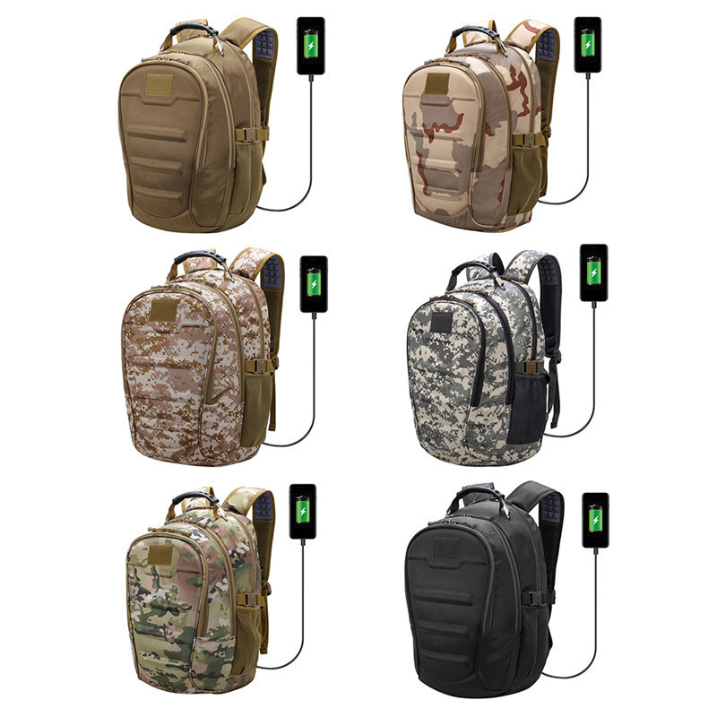 45l Backpack Adult Tactical Trekking Mountaineering Travel Bag Rucksack Outdoor Hiking Match Usb Headset Dual Interface Camping Relieving Heat And Thirst.