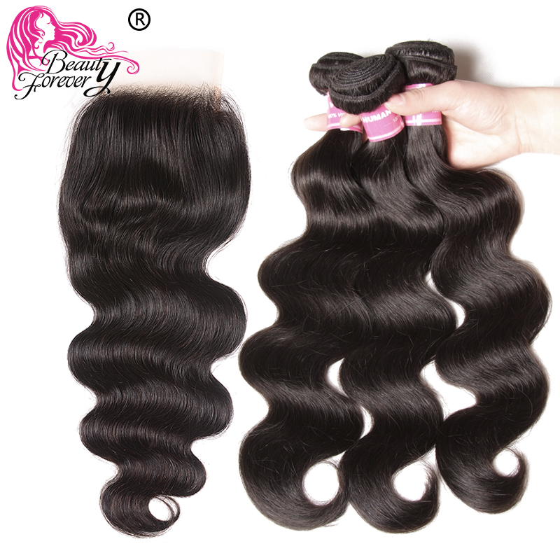 Beauty Forever Body Wave With Transparent Lace /Medium Brown Closure 3 Bundles Brazilian Hair With Closure Remy Human Hair Weave-in 3/4 Bundles with Closure from Hair Extensions & Wigs    2