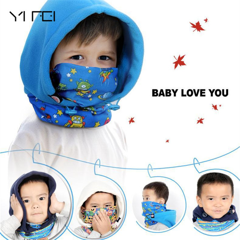 YIFEI 2017 kid's children Cap Full Face Mask Balaclava Hat Hood Cover Scarf Neck Hats Polar Fleece Winter Sports Warmer Caps unisex winter warm fleece full face mask head cover neck warmer scarf hat ski cycling motorcycle balaclava caps outdoor sports