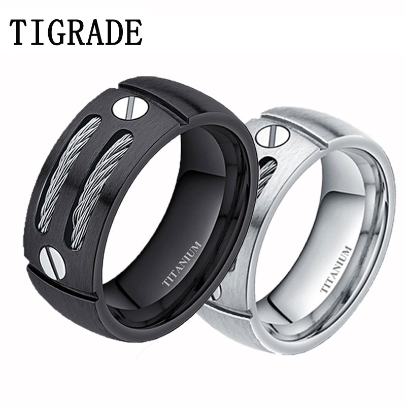 2pcs 8mm silverblack steel cable inlay punk titanium rings women wedding band engagement lovers