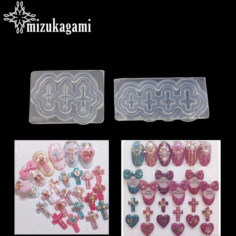 1pcs UV Resin Jewelry Liquid Silicone Mold Cross Resin Charms Silicone Resin Mold For Jewelry Making Nail Art Mold