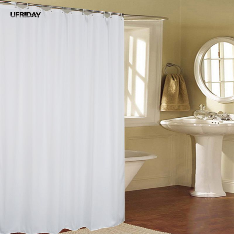 UFRIDAY New White Shower Curtain Fabric Polyester Hotel Curtain for the Bathroom Cloth Waterproof Mildew Thicken Shower Curtains