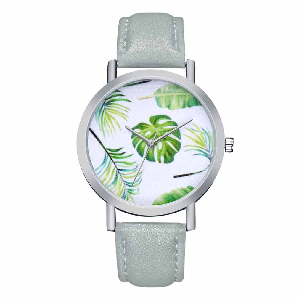 Ladies Watches Quartz Wristwatches Silver Shell Tropical Leaf Quartz Watch PU Leather Strap Watches