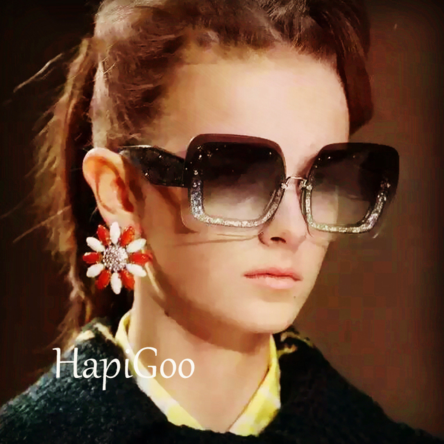 34755b9d2 Quadrado Do Vintage da moda Sem Aro Óculos De Sol Das Mulheres Designer de Marca  Famosa