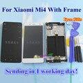Alta Qualidade da Tela de Toque de Vidro E LCD conjunto do Visor Digitalizador tp para xiaomi mi4 m4 telefone branco preto com quadro presentes