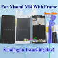 High Quality Touch Screen Glass And LCD Display Digitizer Assembly TP For XIAOMI MI4 m4 Phone White Black With Frame Gifts