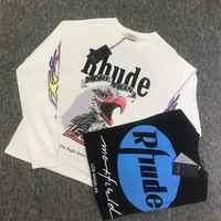 RHUDE x Maxfield LA TENDANCE T-shirt À Manches Longues Hommes Femmes 1:1 Haute Qualité Manches Longues RHUDE Maxfield LA T Chemise RHUDE T-shirt