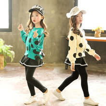 Baby Girls Clothing Sets Autumn 2019 Dot Print Sweatshirts +skirt Long Pants 2 Pcs Sport Suits for Big Girl Tracksuit Kids 8 12Y(China)