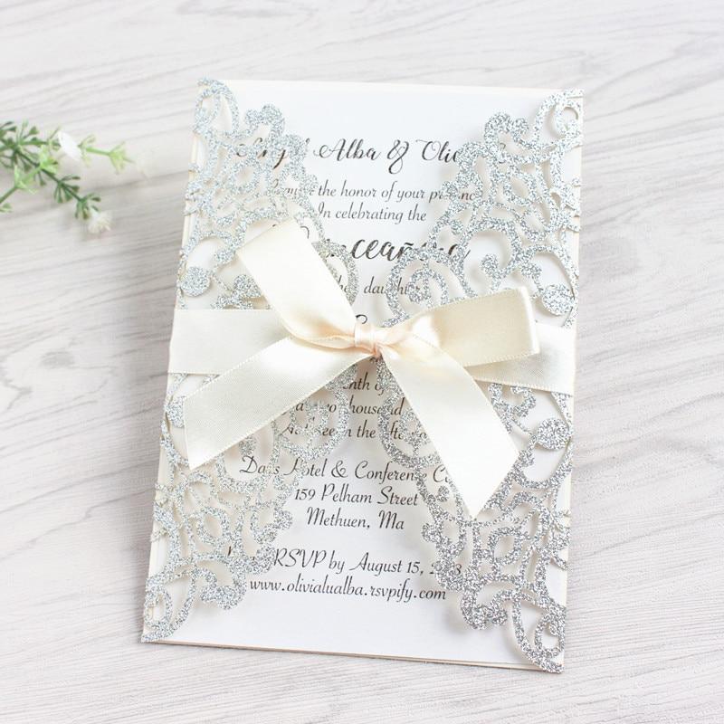 Glittery Wedding Invitations For Wedding Elegant Laser Cut