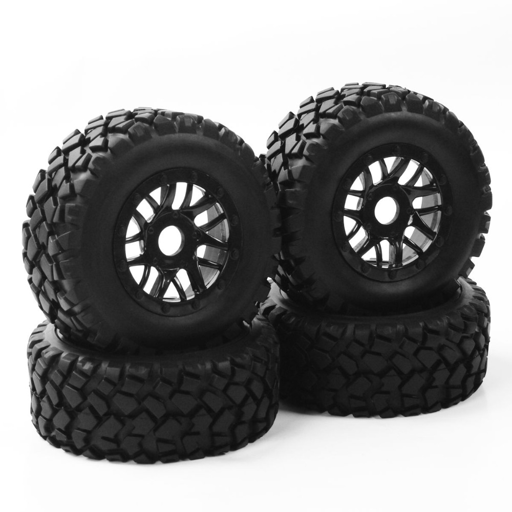17mm Hex 1:10 Short Course Truck Tyre Wheel Rim With Adapter For TRAXXAS SLASH PP0339+PP1003K RC Car Parts Accessories 4pcs lot for rc 1 10 traxxas traxxas slash 4x4 upgrade parts aluminum wheel hex mount 12mm thickness 7mm