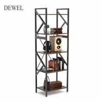 5 Shelf Bookshelf Vintage Rustic Book shelf Rack Metal+Wood Bookcase Etagere Standing Storage Shelf Furniture For Home Office