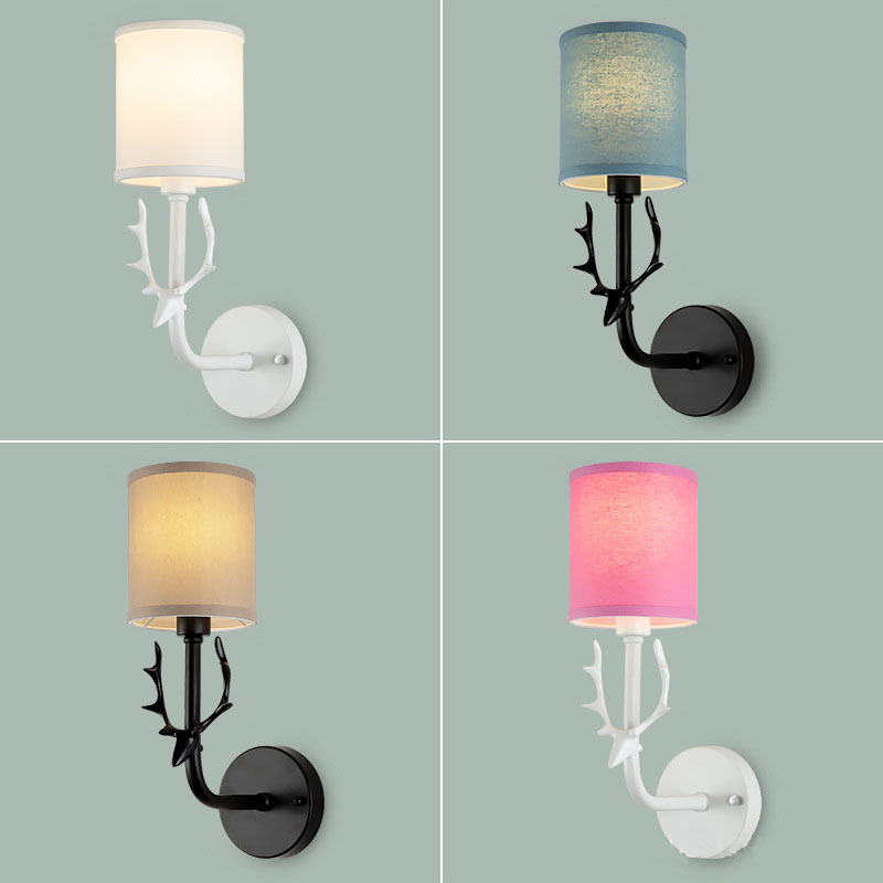 Modern Creative  LED Wall Lamp  Deer Head Fabric Lampshade Living Room Bedroom Bedside Home Decoration Lamp Background Lighting-in LED Indoor Wall Lamps from Lights & Lighting on FANHHUI Store