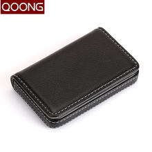 Кожаный чехол для карт qoong мужчин и женщин с отделением банковских