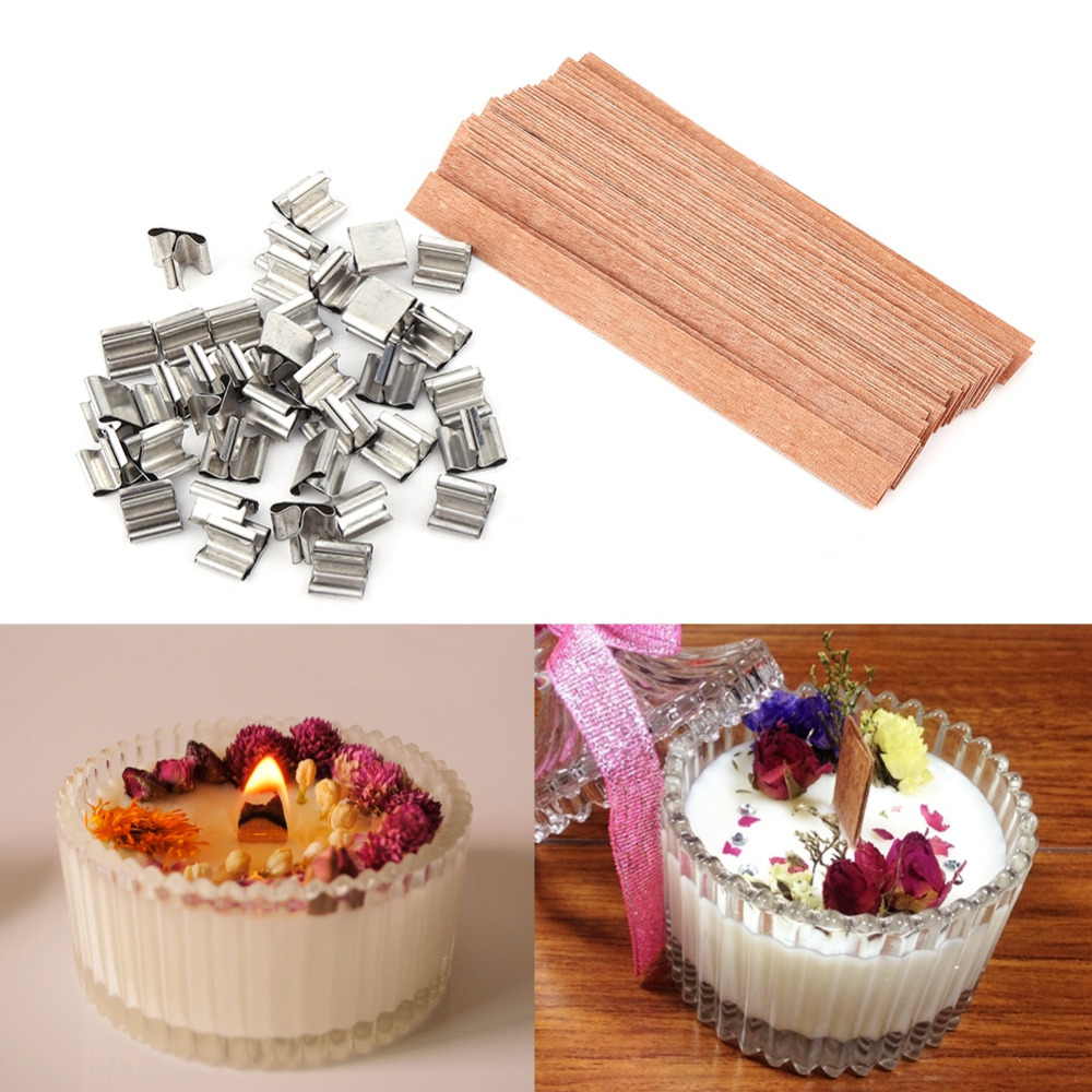 Wooden Candle Wicks Diy: 40Pcs Wooden Candles Cores Wick Sustainer Candle Handmade