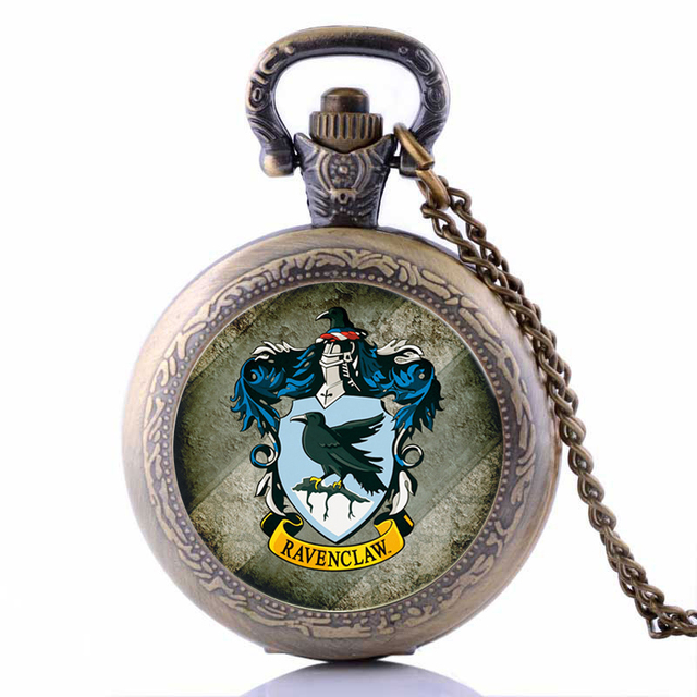 Antique Harry Potter RAVENCLAW Mens Womens Quartz Pocket Watch Analog Pendant Ne