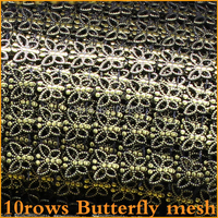 2014 Sale Real Free Shipping Bronze Plastic Rhinestone Mesh Trimming Sewing Trim 5yards Lot 10rows Wedding