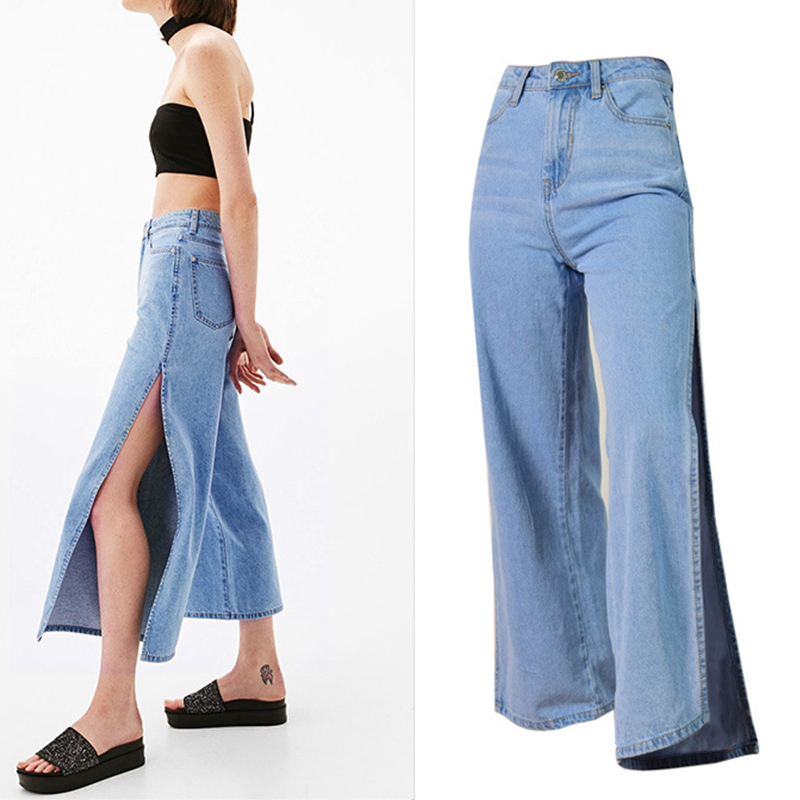 2017 Europe Style Women Denim Pants Jeans High Waist Slim Thin Side Open Loose Harem Pants Trousers Female Denim Wide Leg Pants 2016 new europe women lapel waist slim dark denim jumpsuit pants female fashion clothing night club n4030