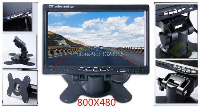 Высокое Качество 7 дюйм(ов) цветной TFT LCD 800X480 дисплей 12-36 В DC Заднего Вида автомобиля Подголовник Монитор с 2 видеовхода VCD DVD камеры
