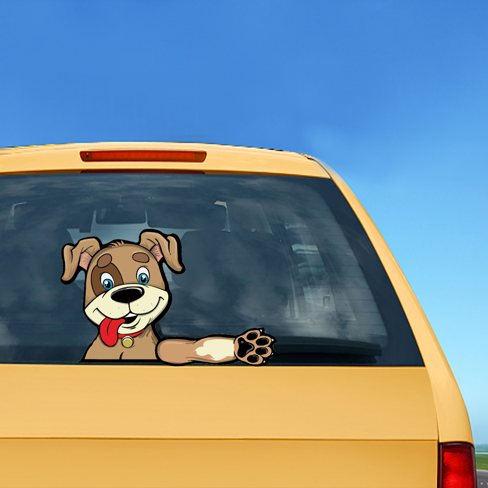 Funny smiling dog waving wiper decals pvc rear window wiper stickers rear windshield stickers car styling stickers and decals in car stickers from