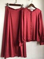 2019 весенне летний женский костюм шелковая атласная Однотонная рубашка + полуюбка 0328