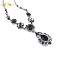 Bohemian Antique Paisley Dark Blue Teardrop Necklace Silver Tone Adjustable Chain Filigree Crystal Water Drop Necklaces for Prom