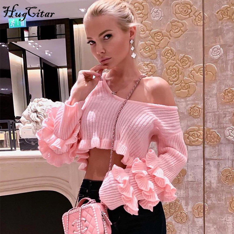 Hugcitar Long Sleeve Ruffles Sexy Crop Tops 2019 Autumn Winter Women Fashion Streetwear Sweaters Outfits