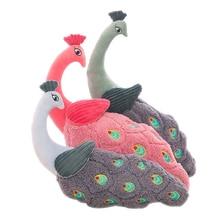 Stuffed Peacock Plush Cartoon Soft Toys Animals Cute Pillow Oyuncak Bebek Kids Doll Peluche Kawaii Gift For Baby Girl 50G0464