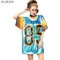 Summer Woman O Neck Street Style Letters Printed Sequins Patch Long T Shirt Female Fashion Loose