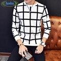 Корейской Моды Т Рубашки Мужчин 2016 Новый Прибытие Длинным Рукавом плед Футболка Плюс Размер Круглым Воротом Slim Fit Tee Shirt Homme 5XL-M