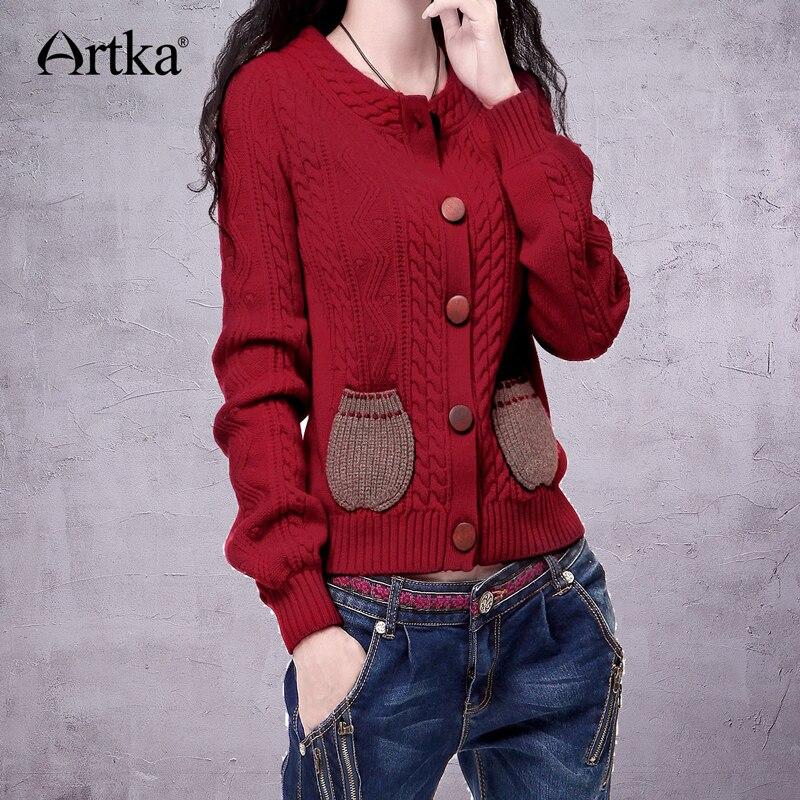 ARTKA Women s Autumn Retro Nostalgic Cable Knit Turtle O Neck Round Pockets Single Breasted Long