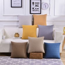 Super Soft Solid Cushion Covers Yellow Blue Gray Pillow Round Ball Thick Pillowcase 45*45cm Sofa Car Decorative Pillows
