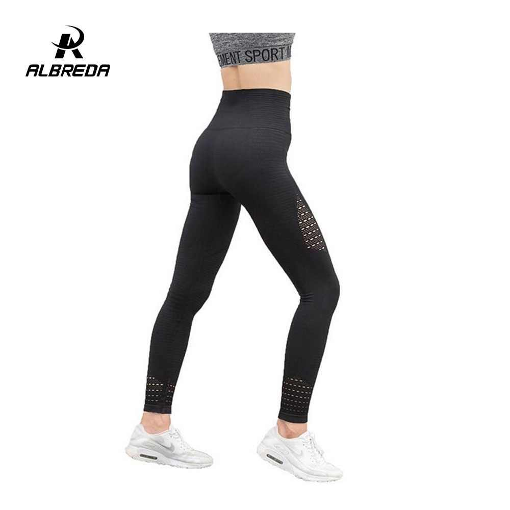 1a2e57cd40 ALBREDA Hollow Women Yoga Pants Sports Running Sportswear Stretchy Fitness  Leggings Tummy Seamless Gym Compression Tights
