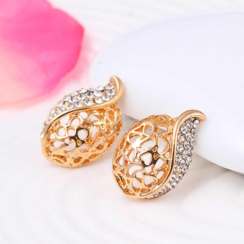 צבע זהב ערכות תכשיטי הולו ואטארדרוף אוסטריה קריסטל שרשרת תליון עגילי סט נשים ריינסטון חתונה הכלה choker