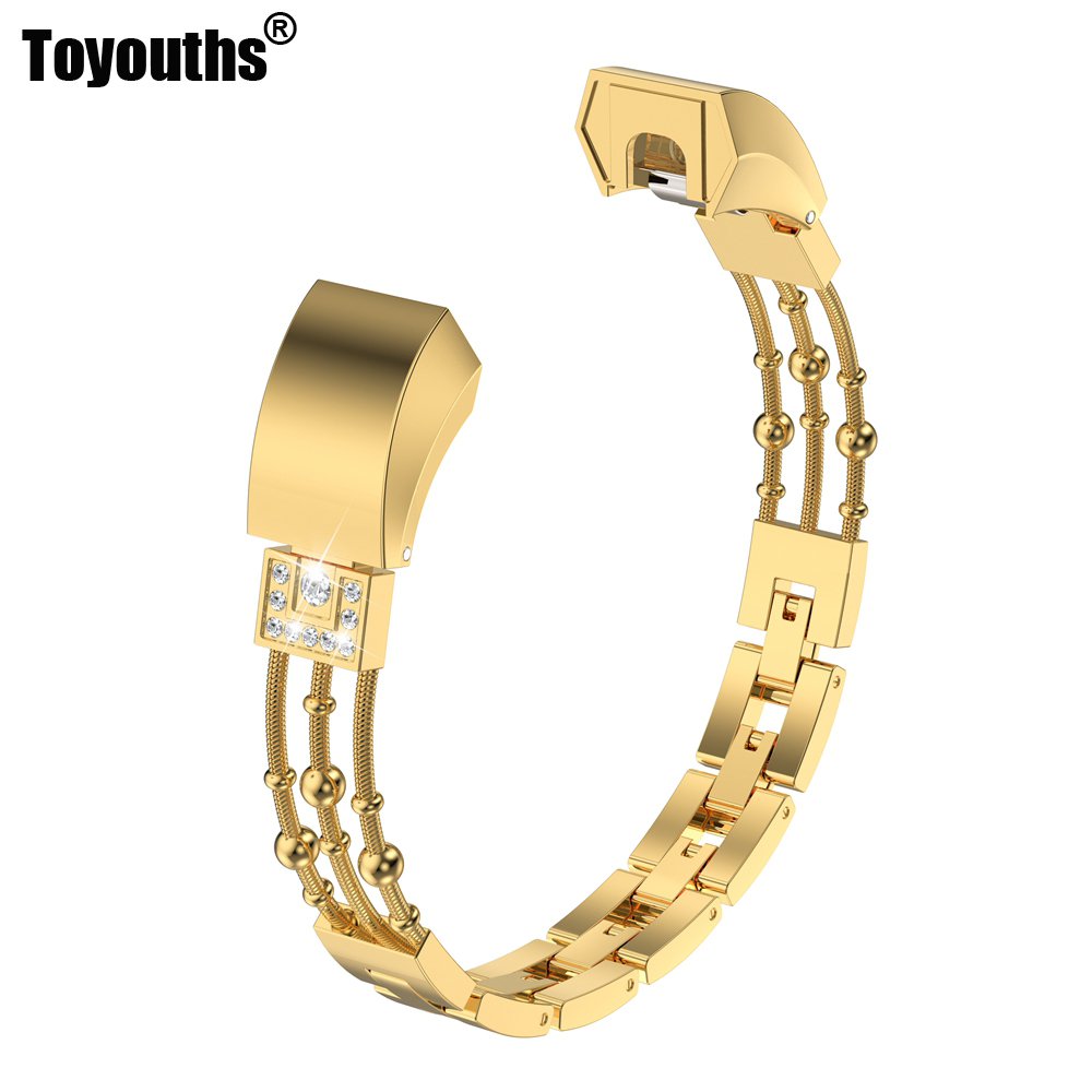 Toyouths Fashion Diamond Watch Band For Fitbit Alta Strap Stainless Steel Link Bracelet Replacement Metal WristbandToyouths Fashion Diamond Watch Band For Fitbit Alta Strap Stainless Steel Link Bracelet Replacement Metal Wristband