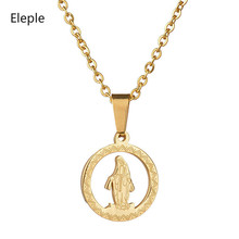 Eleple Titanium Steel Virgin Mary Hollow Necklaces for Women Angel Flower Pendant Clavicle Chain Jewelry Dropshipping S-N230