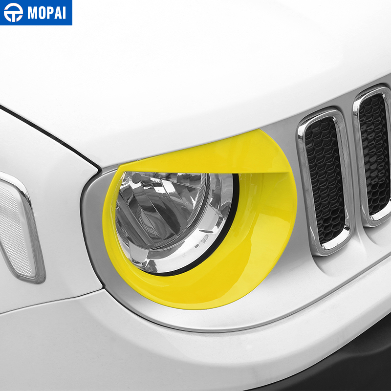 Image 5 - MOPAI Car Front Head Light lamp Decoration Cover Stickers for Jeep Renegade 2015 Up ABS Exterior Car Accessories Styling-in Lamp Hoods from Automobiles & Motorcycles