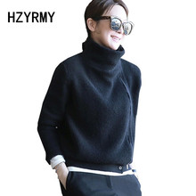 HZYRMY 2018Autumn and Winter New High-Neck Cashmere Cardigan Fashion Zipper Design Short Coat Solid Color Wool Knit Warm Sweater цена