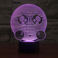 Creative Gift For Children Face Carton USB RGB Lamp Touch Dimmable 3D Night Light As Bedroom