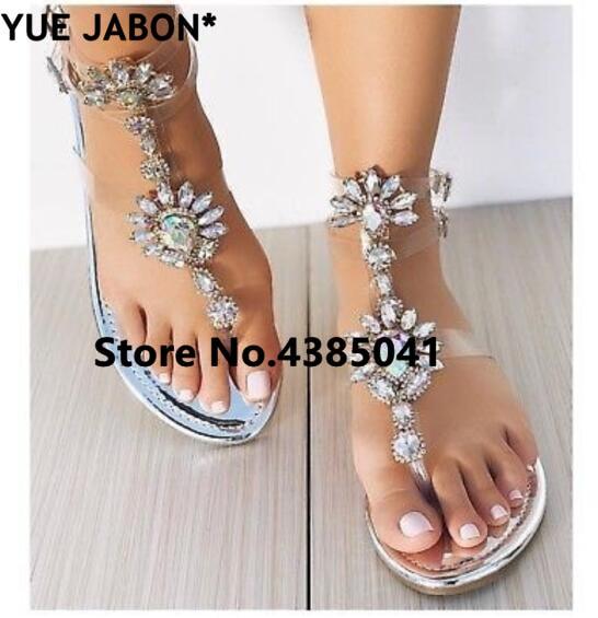 HTB19zv1rOCYBuNkHFCcq6AHtVXaz 2019 shoes woman sandals women Rhinestones Chains Flat Sandals Thong Crystal Flip Flops sandals gladiator sandals 43 free ship