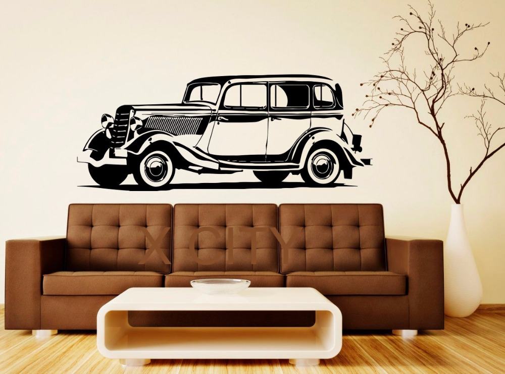 Retro Clic Vintage Car Old Transport Decal Wall Vinyl Sticker Home Interior Removable Bedroom Office Dorm Decor 57 X 143cm In Stickers From