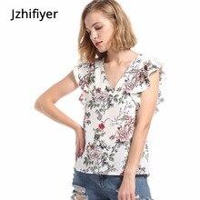 womens tops and blouses chiffon shirts casual floral printed V neck soft top shirt mujer kimono blusa feminina
