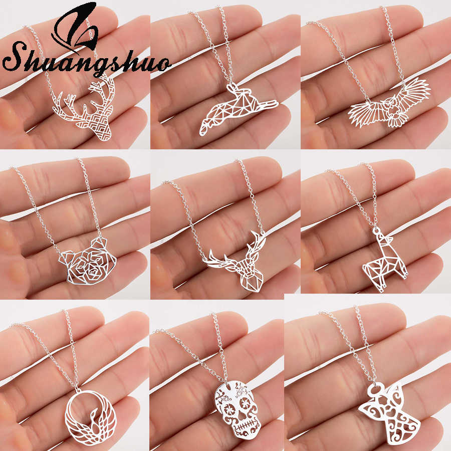 Shuangshuo Chain Necklace Chokers For Women Deer Necklaces & Pendants Staianless Steel Collier Femme Weeding jewellery