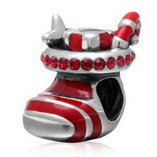 цена на 1pc Genuine 925 Sterling Silver Christmas Stocking Enamel Charm Bead with Red Australian Crystal
