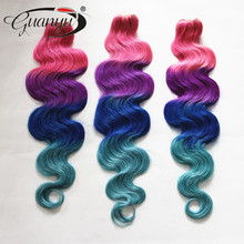 2015 New Xmas Super Deals Brazilian Human Hair Red/Purple/Blue/LightBlue 3 or 4 pcs/lot Get a Free Closure to Match your Bundles