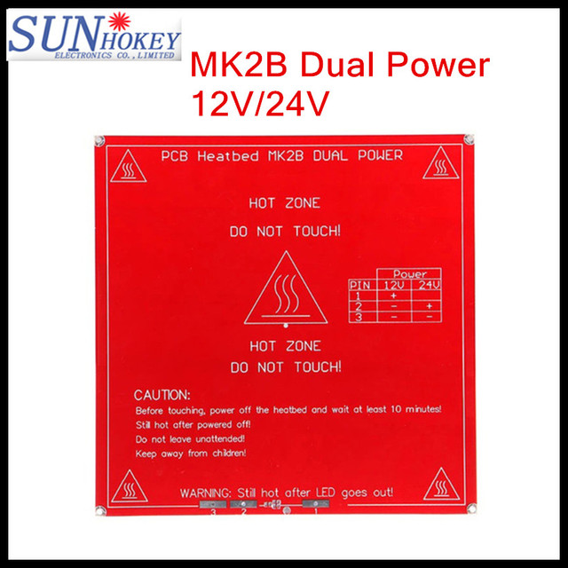 3D Printer parts 214mm*214mm PCB Heatbed MK2B Dual Power 12V/24V for 3d printing