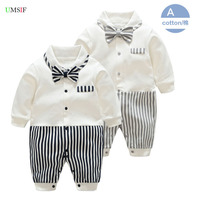 Newly 2018 Newborn Baby Rompers White Stripe New Baby Gentleman Outwear 100 Cotton Baby Long Sleeve