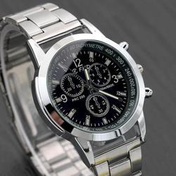 Мужские классические кварцевые аналоговые часы, спортивные наручные часы из нержавеющей стали, 2018
