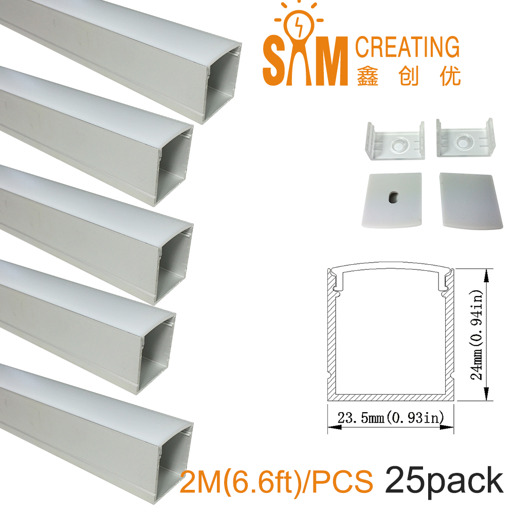 U Shape LED Aluminum Channel 6.6ft 25Pack Silver Track with Cover End Caps Mounting Clips for Cabinet Kitchen LED Strip Light