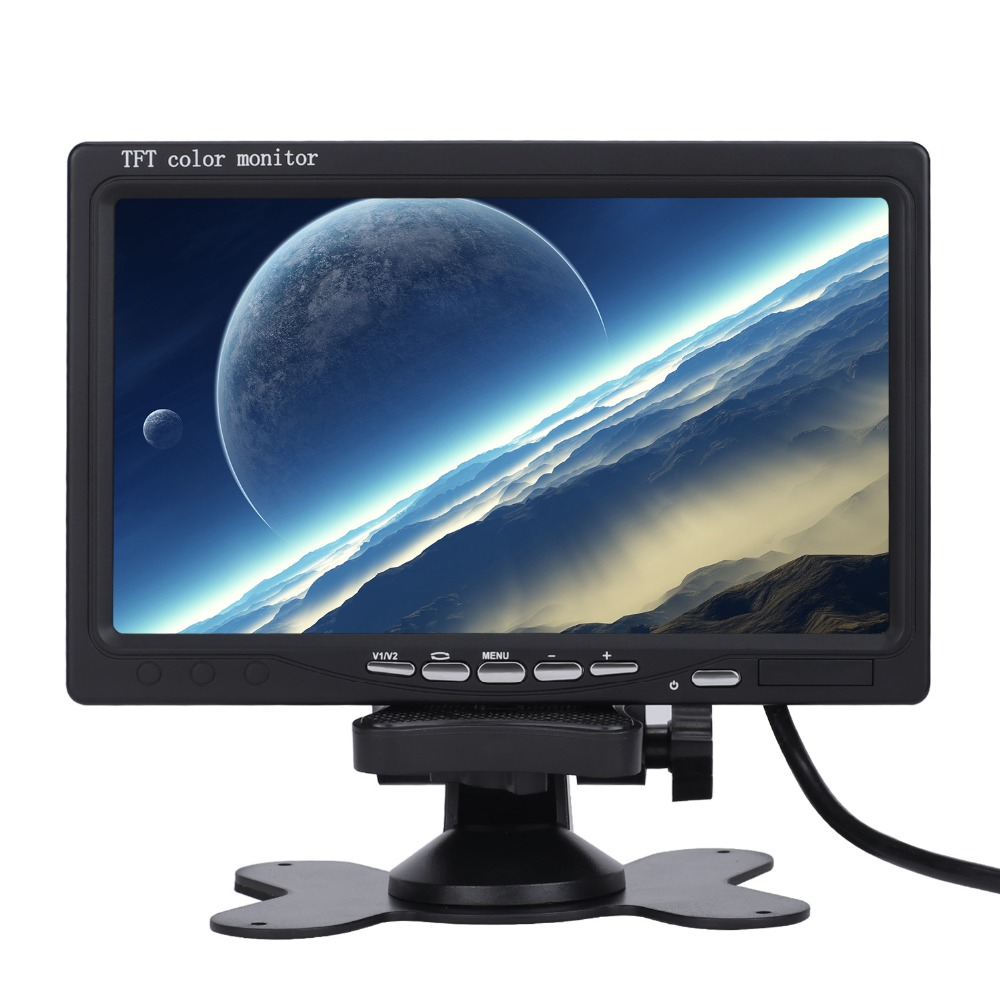 imágenes para Nueva Calabaza 7 pulgadas 16:9 TFT LCD Analógica Soporte de la TV solo Monitor Digital de Coches retrovisor Monitor de La Cámara DVD Reposacabezas de Coches jugador
